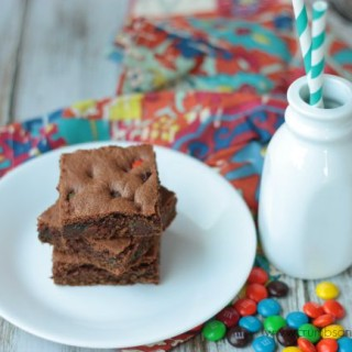 Chocolate M&M Cookie Bars | Crumbs and Chaos