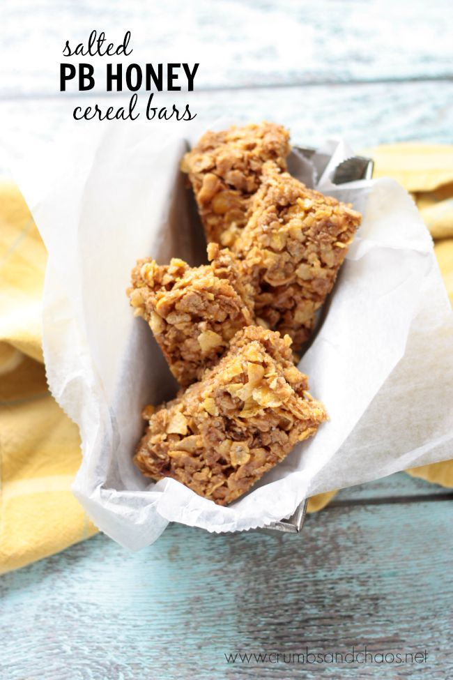 Salted PB Honey Cereal Bars | Crumbs and Chaos