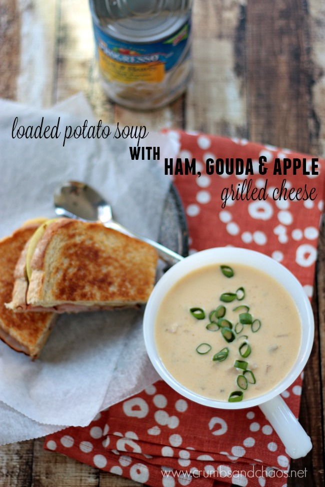 Rich and Hearty Loaded Potato Soup with Ham, Gouda & Apple Grilled Cheese