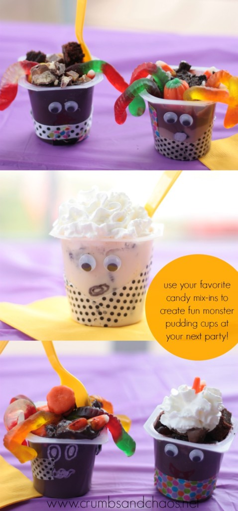 Make Fun Monster Pudding Cups at your next party! | Crumbs and Chaos