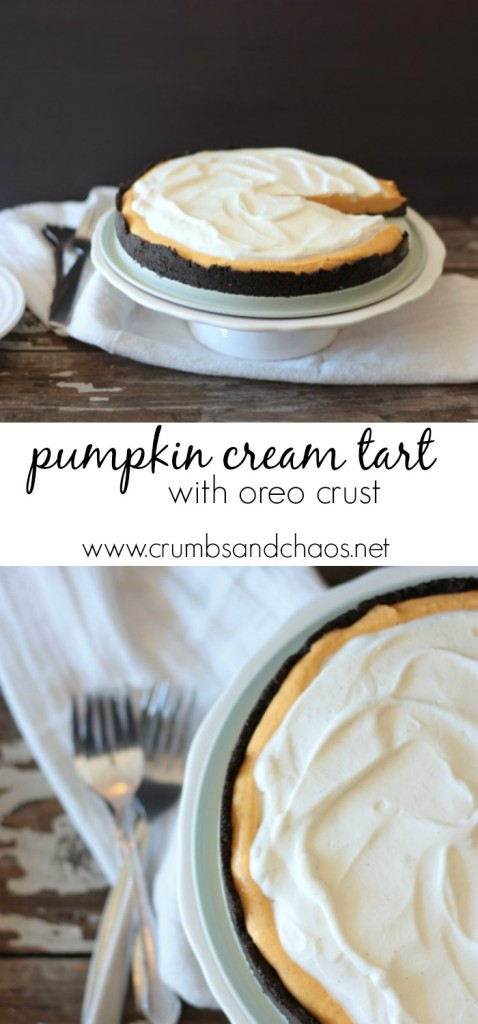 Pumpkin Cream Tart with Oreo Crust Recipe brought to you by Crumbs and Chaos