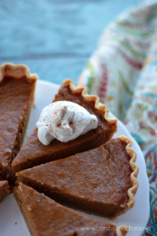 Pumpkin Pie with Maple Cinnamon Whipped Cream | Crumbs and Chaos