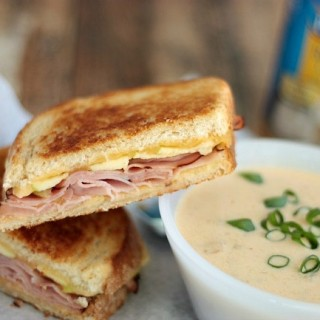 Loaded Potato Soup with Ham, Gouda & Apple Grilled Cheese