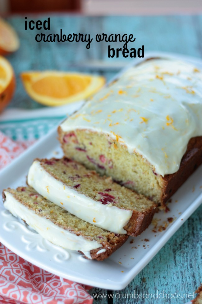 Iced Cranberry Orange Bread | Crumbs and Chaos
