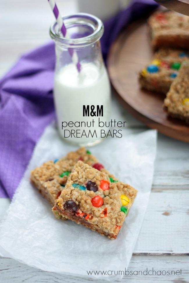 M&M PB Dream Bars | Crumbs and Chaos