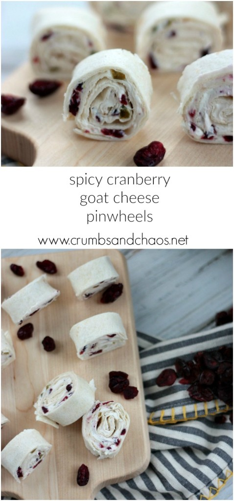 Spicy Cranberry Goat Cheese Pinwheels | Crumbs and Chaos