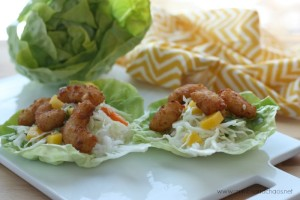 Spicy Honey Popcorn Shrimp Lettuce Wraps