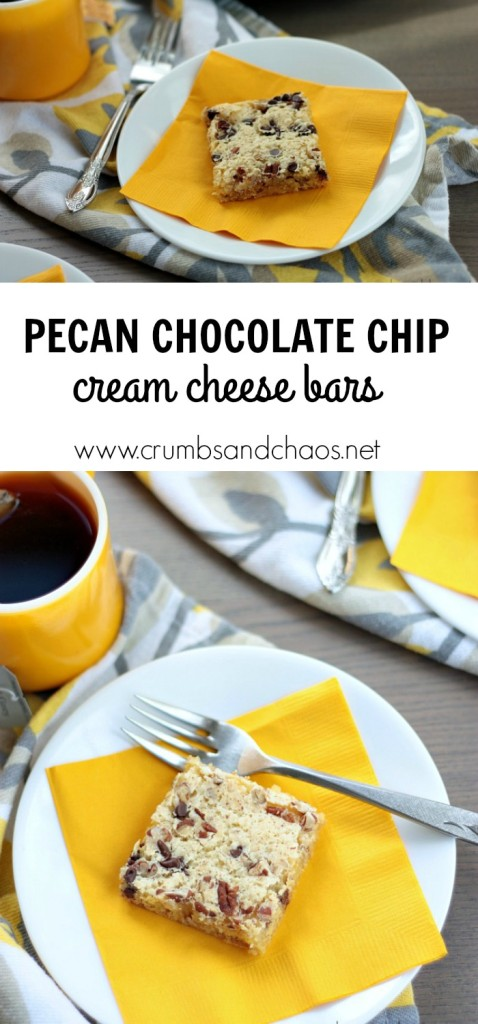 This simple dessert starts with a cake mix! You'll love Pecan Chocolate Chip Cream Cheese Bars!