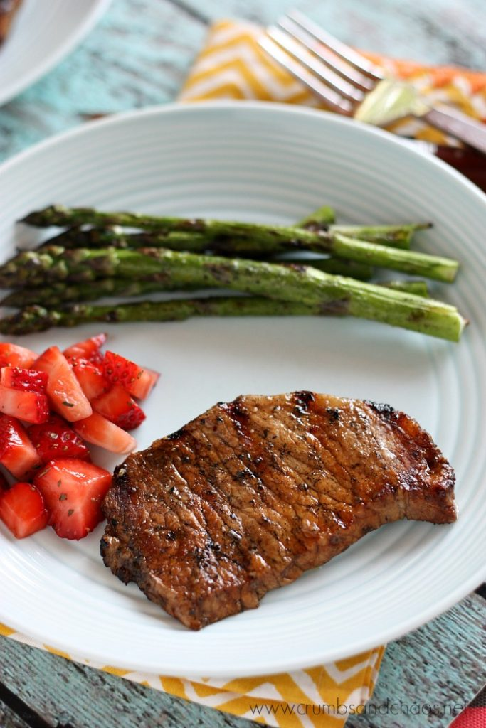 Grilled Balsamic Pork Chops with Strawberry Relish | Crumbs and Chaos