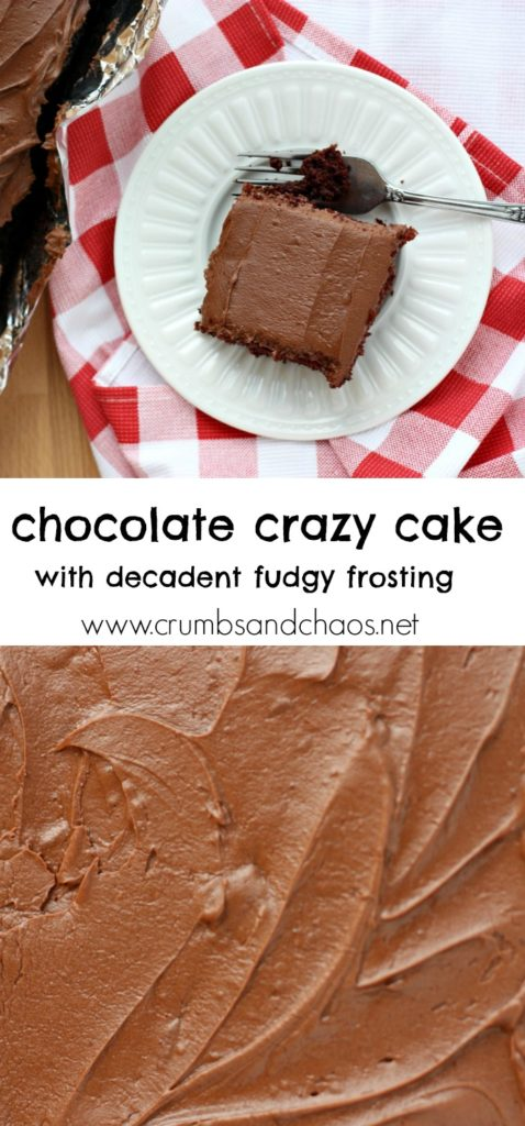 Chocolate Crazy Cake with Decadent Fudgy Frosting | Crumbs and Chaos