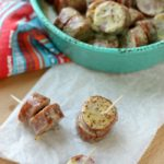 4 ingredient appetizer for the win, Maple Mustard Sausage Bites are easy to make and they'll be a crowd favorite!