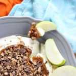 You only need 4 ingredients to make the Best Caramel Apple Toffee Dip! It'll be everyone's favorite at your next party!