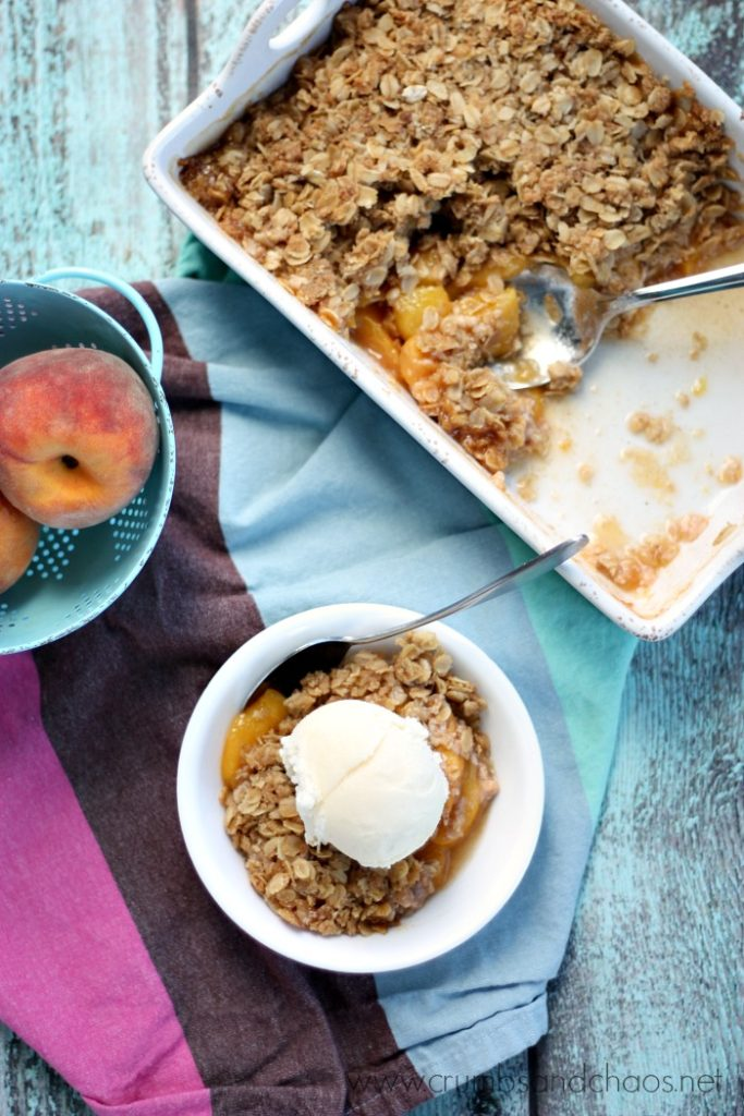 Summer in a sweet dessert! Peach Crisp is a delicious way to enjoy fresh peaches!