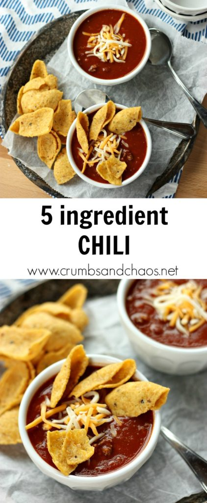 Super simple 5 Ingredient Chili is perfect for weeknights or game day!