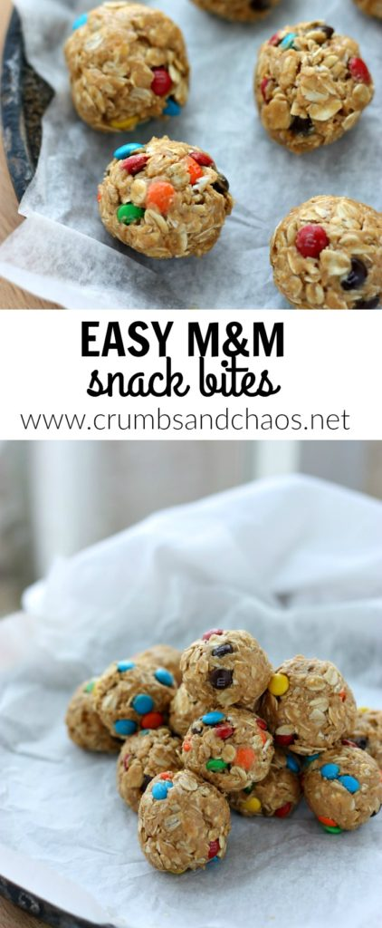 Easy M&M Snack Bites are great to have on hand for easy anytime snacking and you only need 5 ingredients to make them!